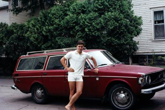 My macho brother and his not-so-macho station wagon.