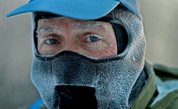 Freezing guy courtesy of US News & World Report.  It is NOT cold enough for him.